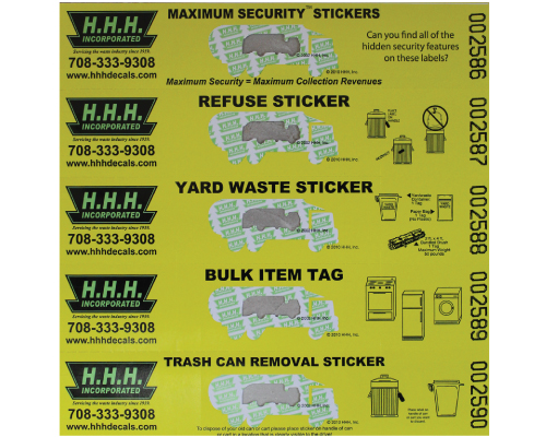 maximum security trash stickers and extra bag tags